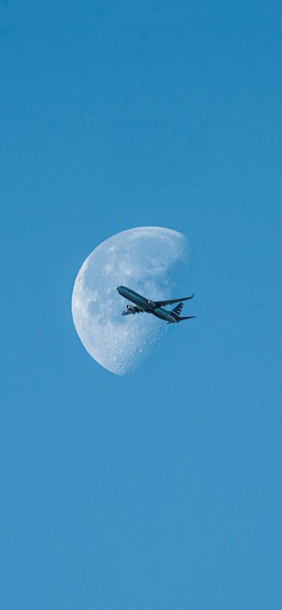 飞机 飞行 航空 月亮 蓝色