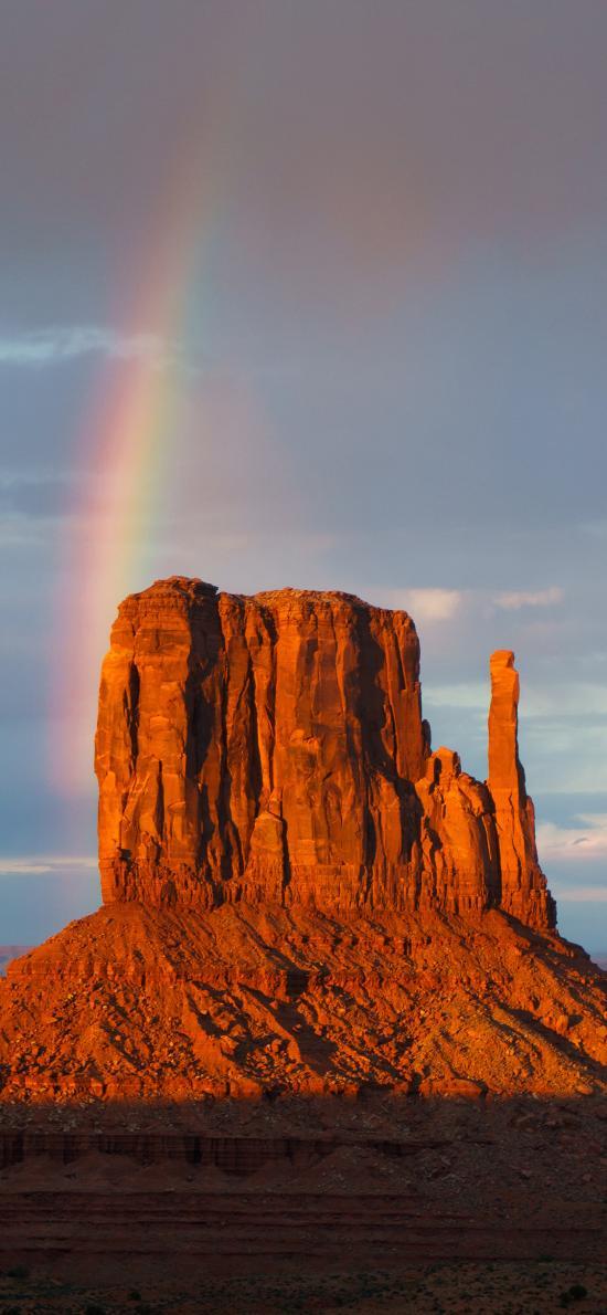 郊外 小山峰 彩虹 自然
