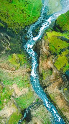 河流 山 大自然 航拍 绿色