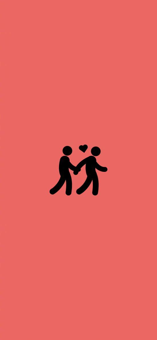 牵手 爱心 爱情 粉色 情侣