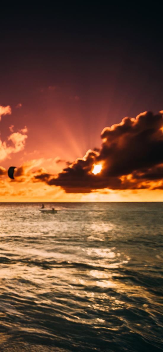 大海 日出 云层 阳光 唯美
