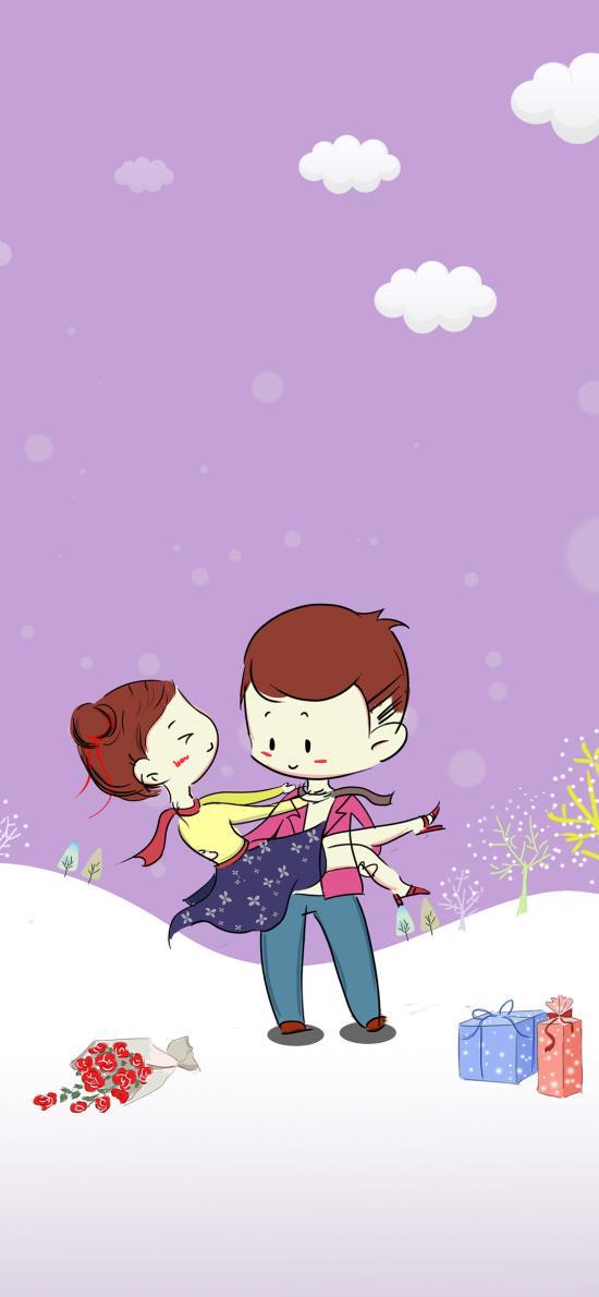 情人节 插画 情侣 拥抱