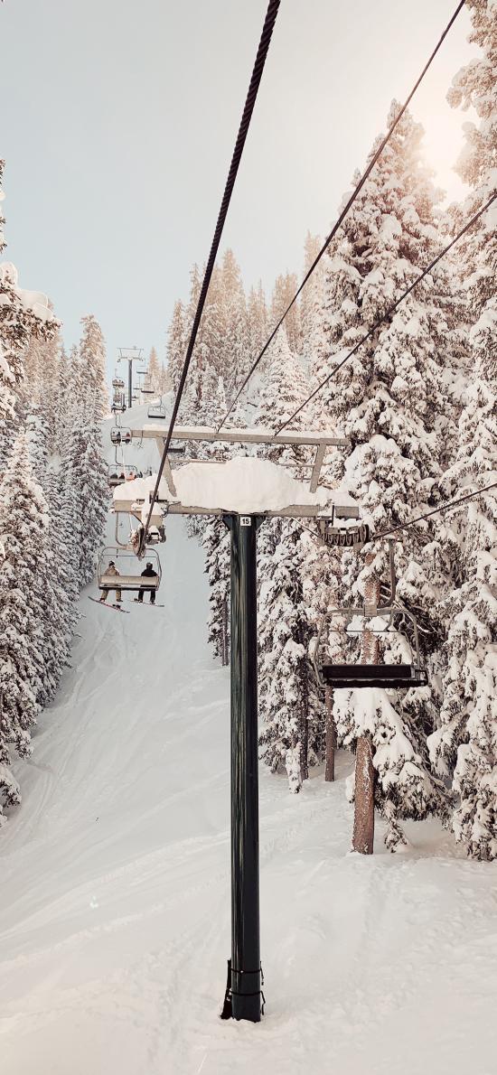 冬季 雪景 缆车 唯美