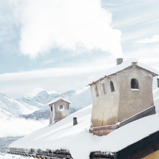 冬季 雪景 房屋 白雪覆盖 寒冷 唯美