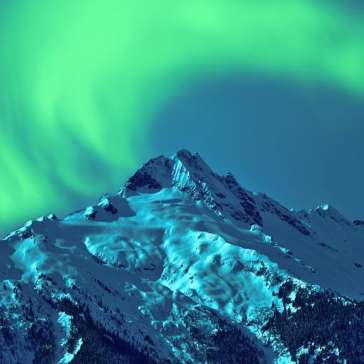 雪山 极光 山峰 大自然 夜晚