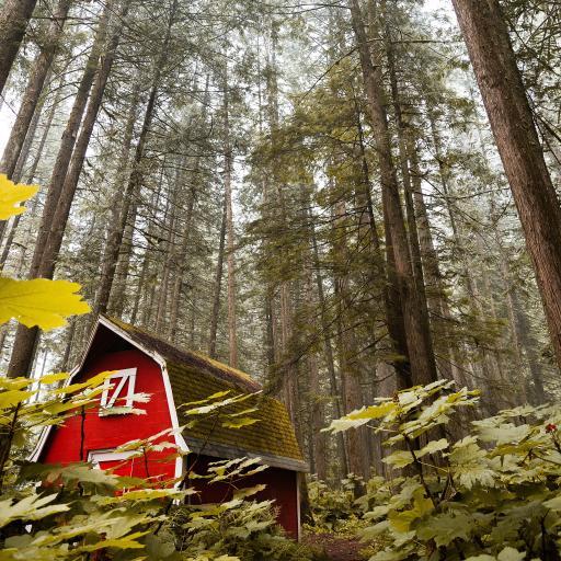 郊外 林间 小屋 红色
