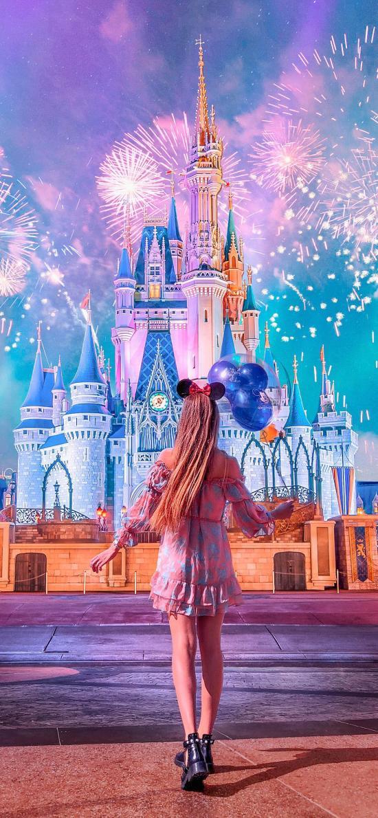 背影 女孩 城堡 迪士尼 烟火 唯美