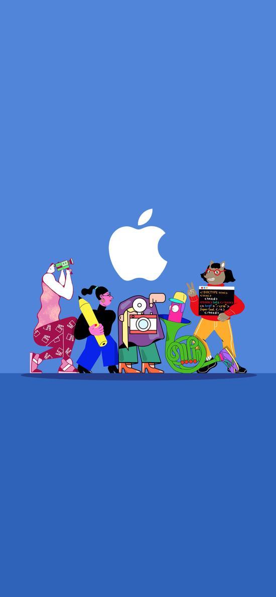 苹果 logo 蓝色 设计 代码 品牌