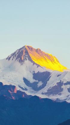 郊外 山峰 白雪 自然