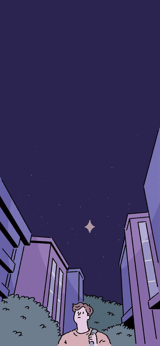 夜空 星空 男孩 建筑 城市 插画 koke 
