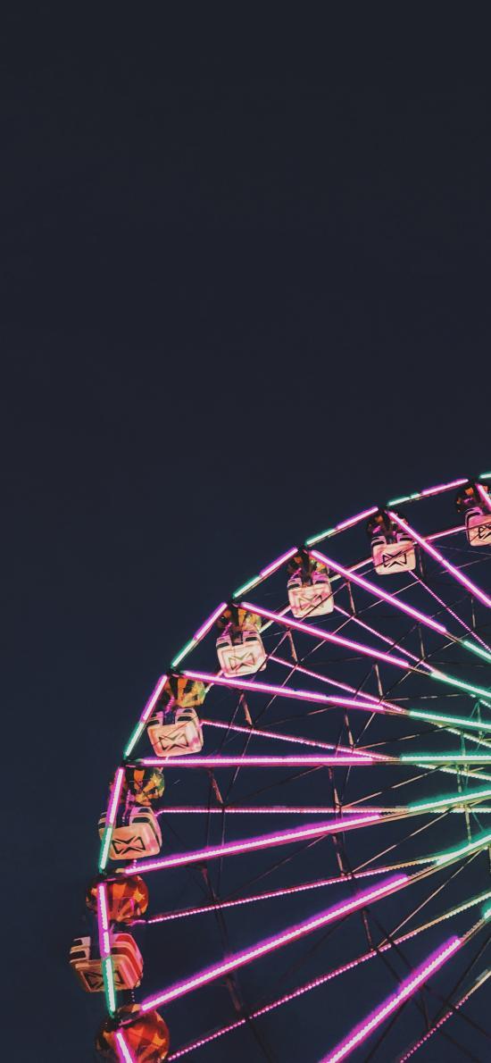 夜晚 灯光 摩天轮  彩灯