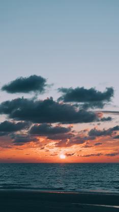 大海 天空 夕阳美景 云层