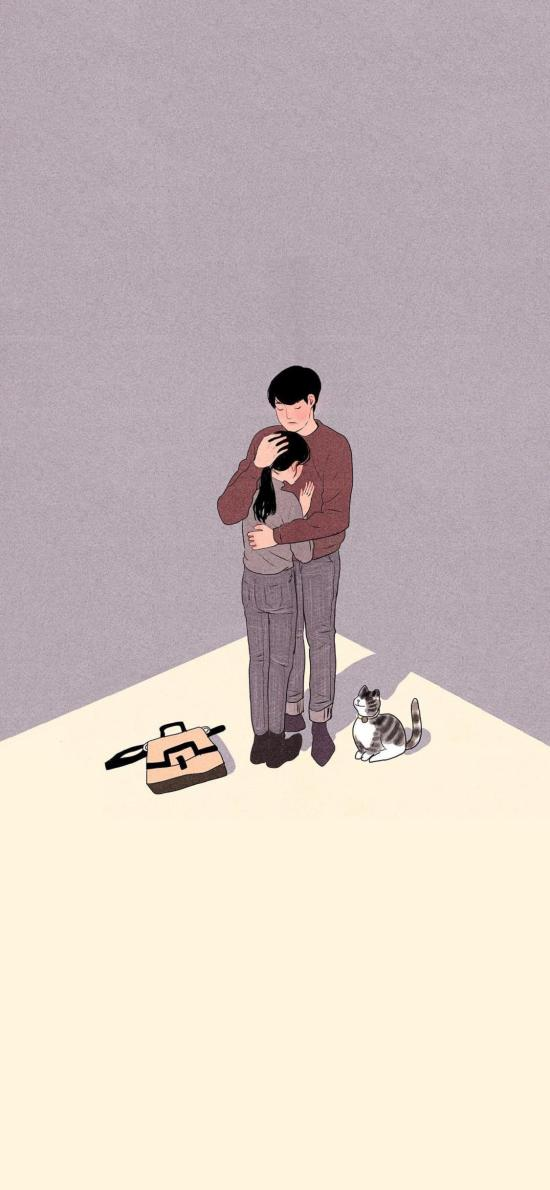 拥抱 情侣 爱情 浪漫 猫咪 插画