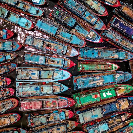 渔船 停泊 港口 排列 密集