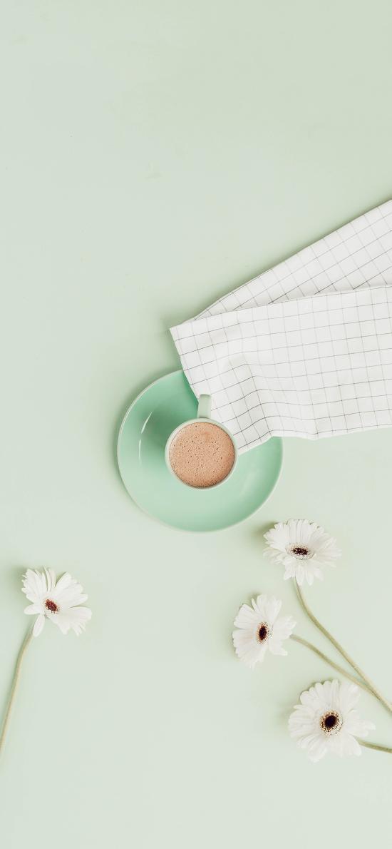 静物 咖啡 雏菊 白色