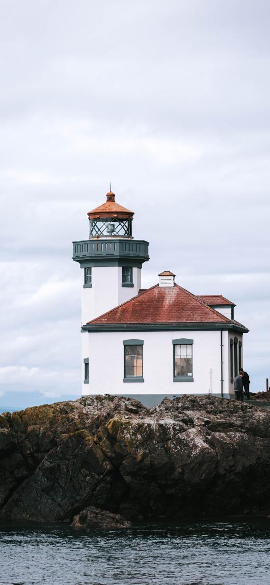 房屋 海岸 灯塔 礁石
