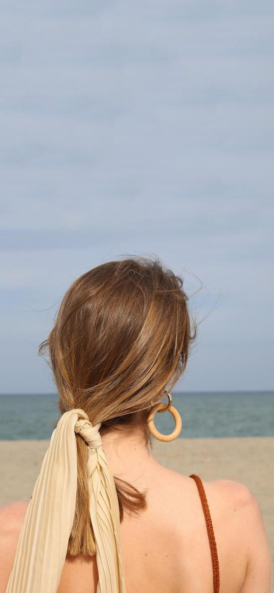 美女 背影 吊带 发带 唯美
