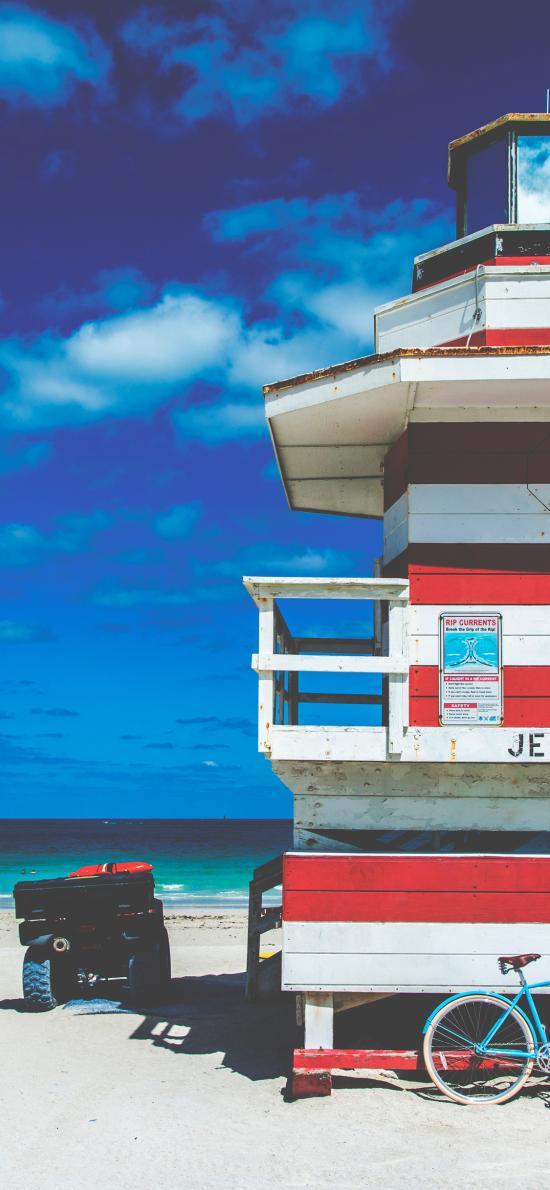蓝天白云 海滩 建筑 风景