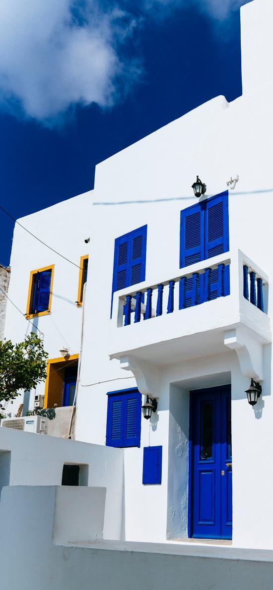 建筑 地中海风 白墙 蓝窗