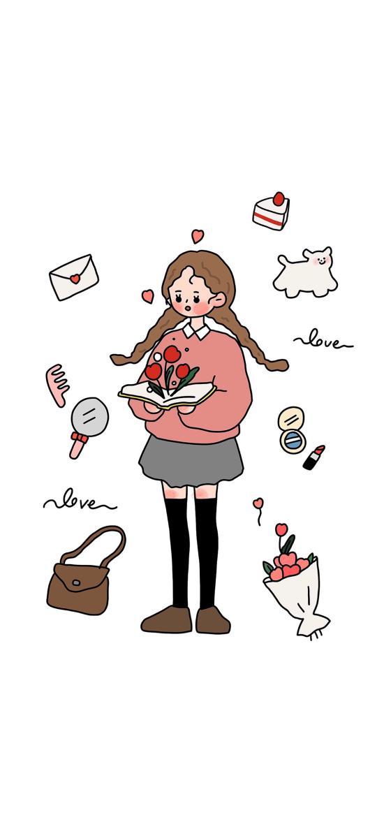 情侣 插画 女孩 书本