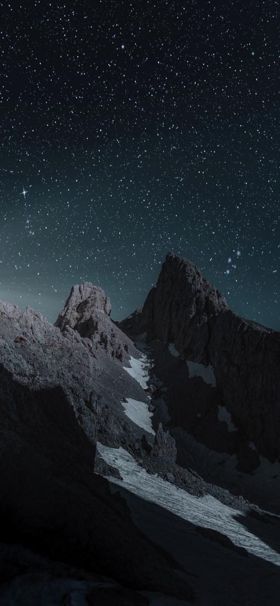 星空 夜空 山峰 夜晚