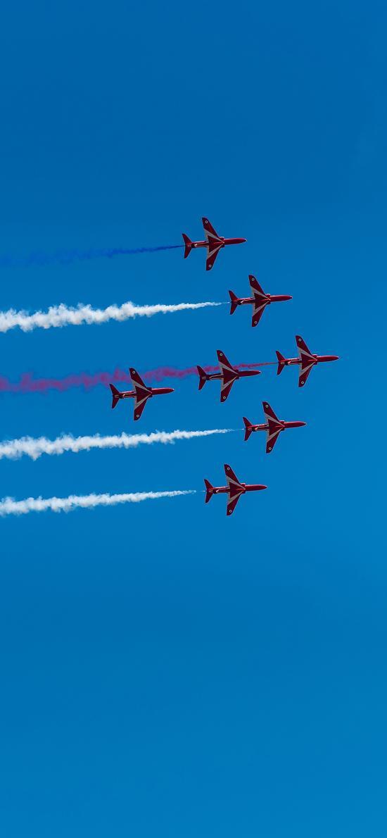 飞机 演习 排列 蓝天