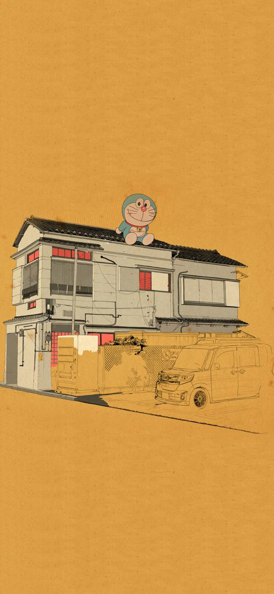 哆啦A梦 叮当猫 复古 房屋 日本 动画