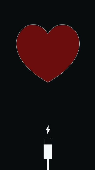 充电 爱心 黑色 电源 心形
