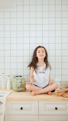 厨房 萌娃 写真 女孩