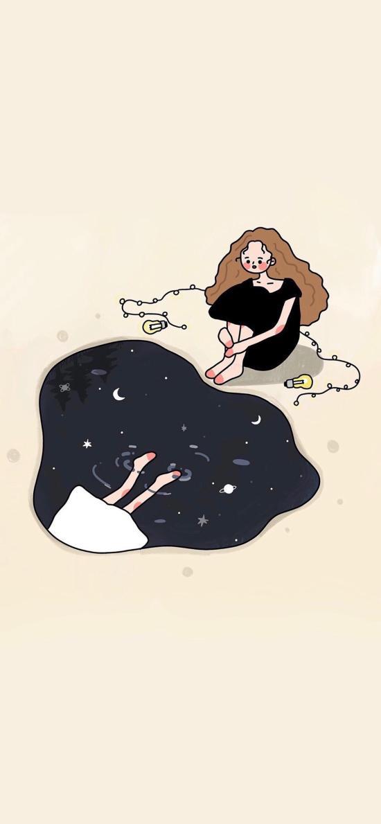 女孩 插画 倒影 韩国插画师