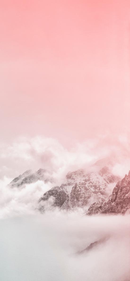 自然 山峰 云雾缭绕 粉色渐变 美景