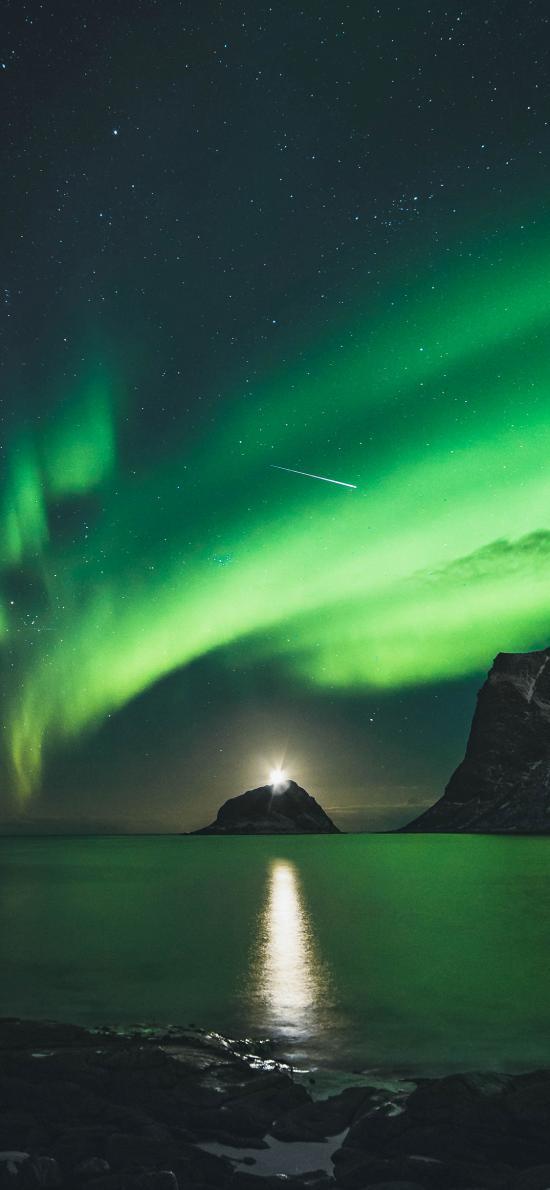 夜晚 极光 绿色 美景