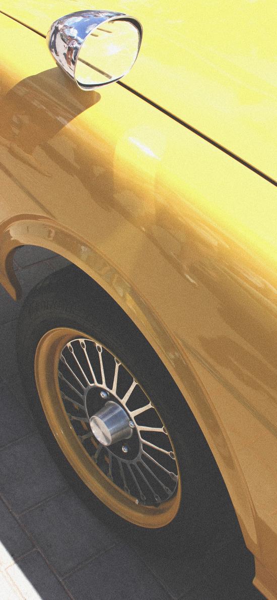 汽车 黄色 轮胎 车头