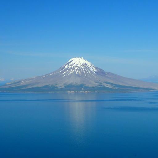 雪山 积雪 海面 蓝色