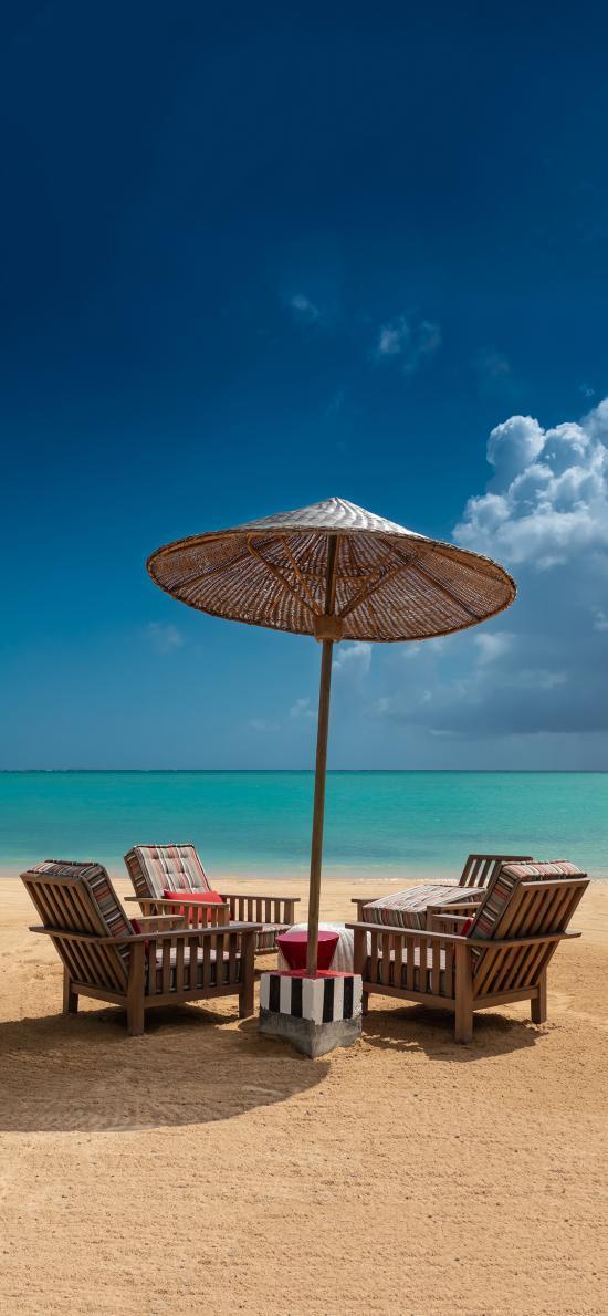 大海 沙滩 椅子 遮阳伞 休闲 度假