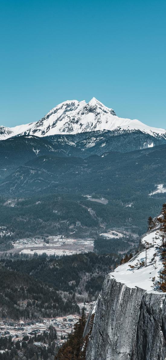 郊外 山峰 白雪覆盖 美景