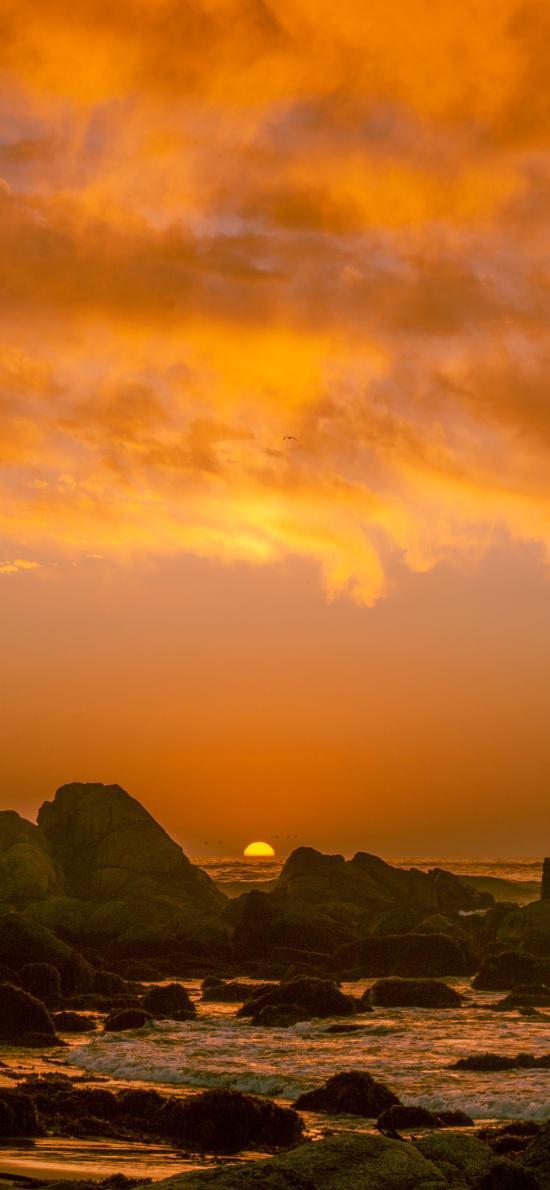 大海 岩石 夕阳 落日 美景 唯美