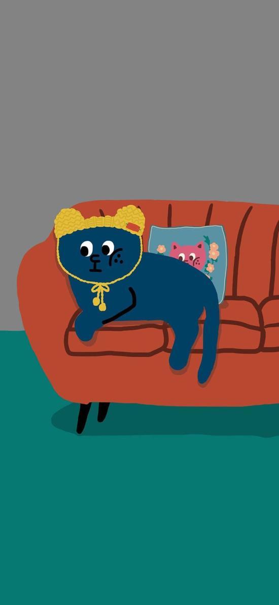 插图 猫咪 帽子 可爱