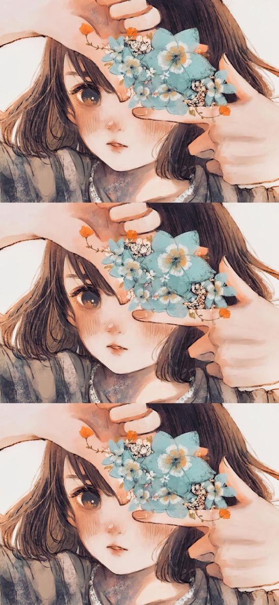 女孩 插画 拼接 花朵