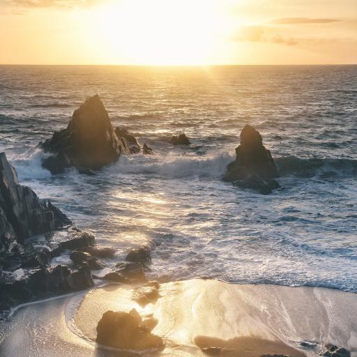 大海 海景 浪花 岩石 阳光