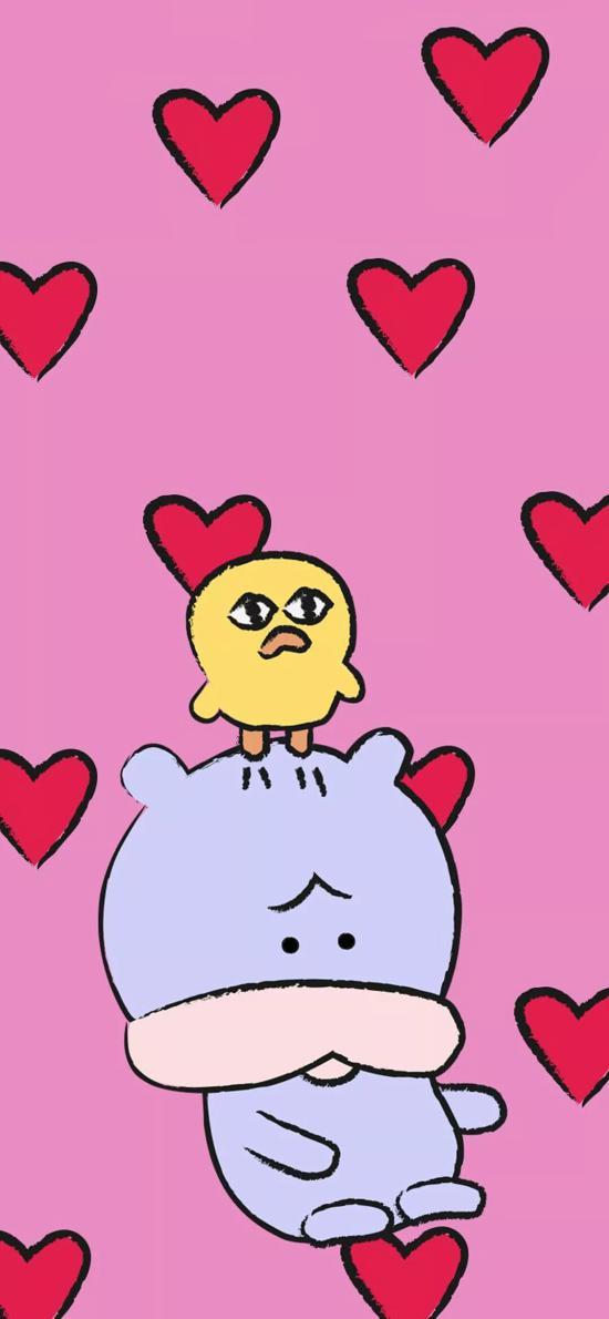 粉色背景 卡通 萌物 小黄鸡 爱心