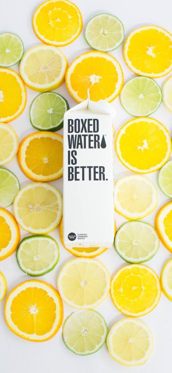 盒装水 水果 柠檬 青柠 water
