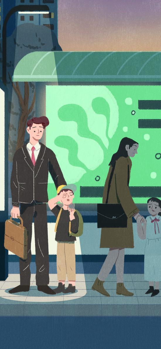 插画 父子 公车站 等车