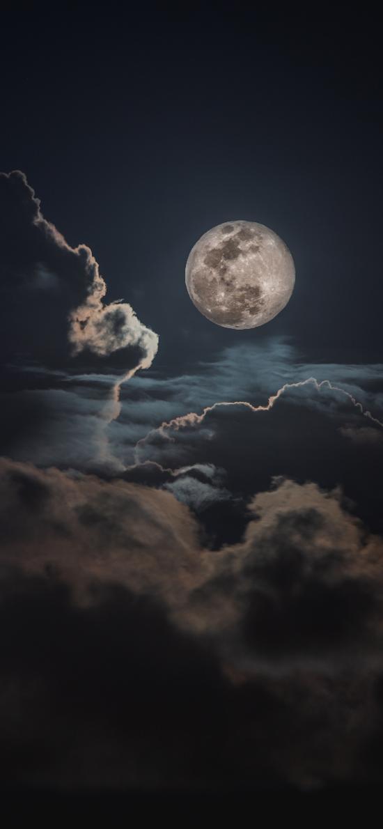 月亮 云朵 夜晚 天空