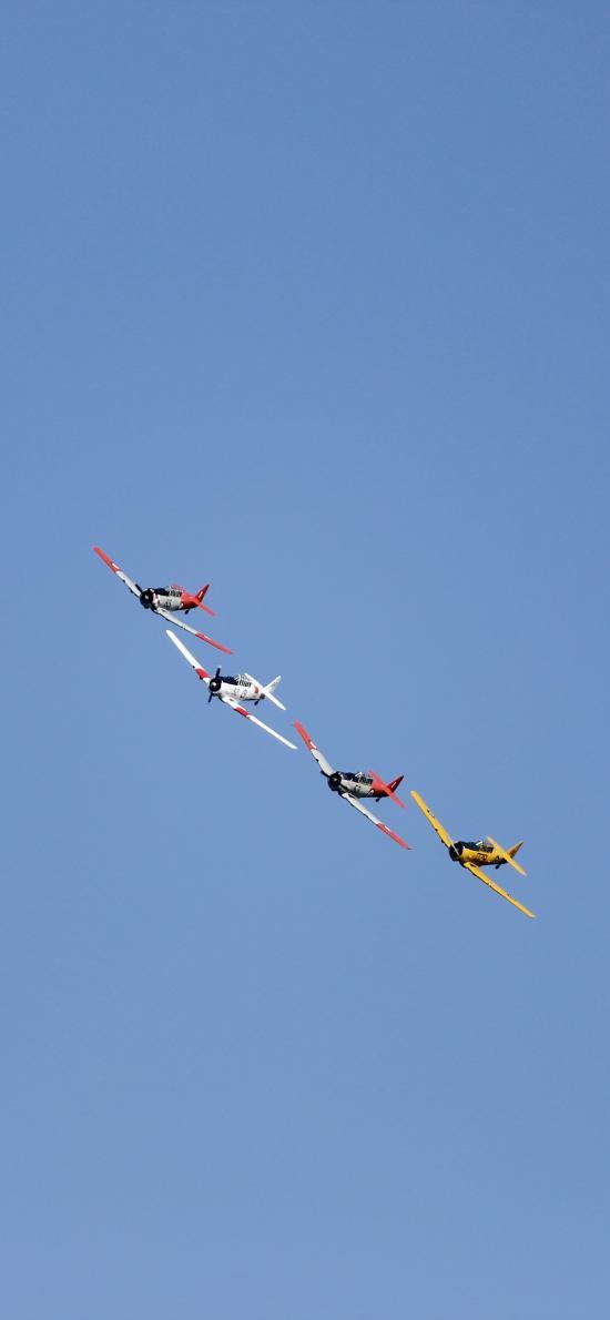 飞机 飞行 航空 蓝色 排列