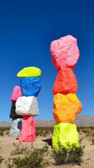 景点 石头 彩色 堆叠