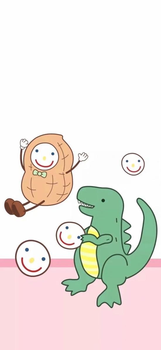 卡通 萌物 恐龙 花生 笑脸