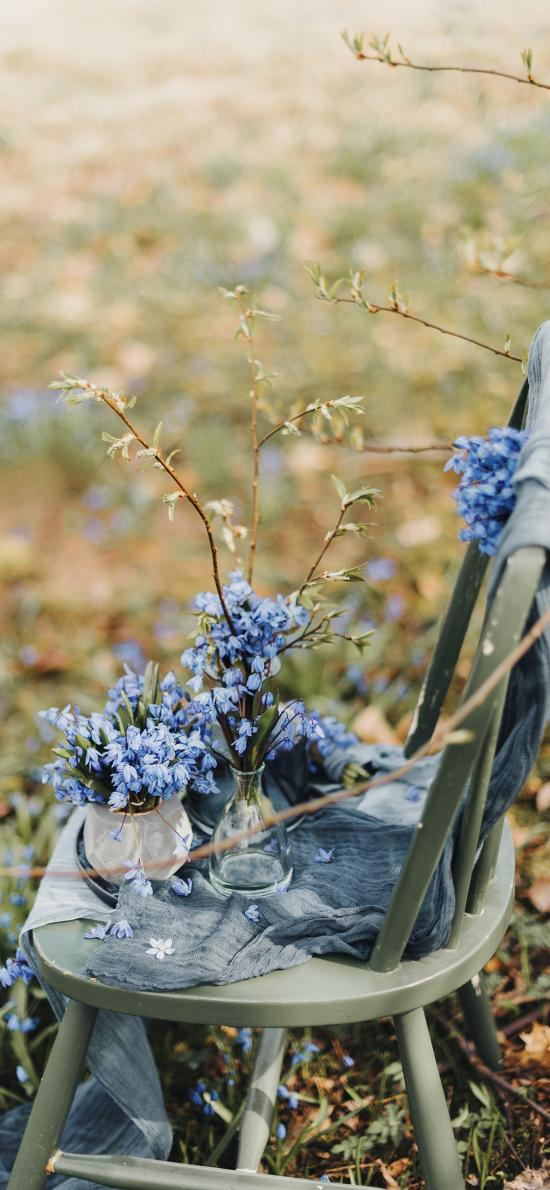 草地 椅子 花瓶 鲜花 紫色