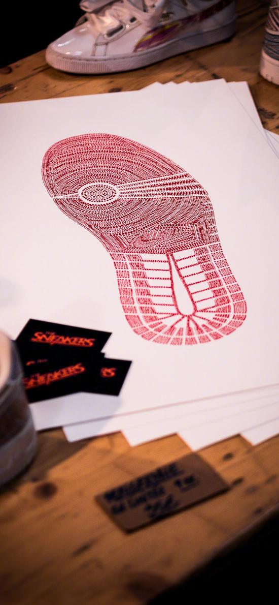 鞋底 鞋印 白纸 运动
