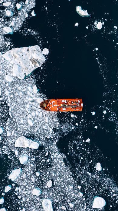 船 海洋 冰块 行驶